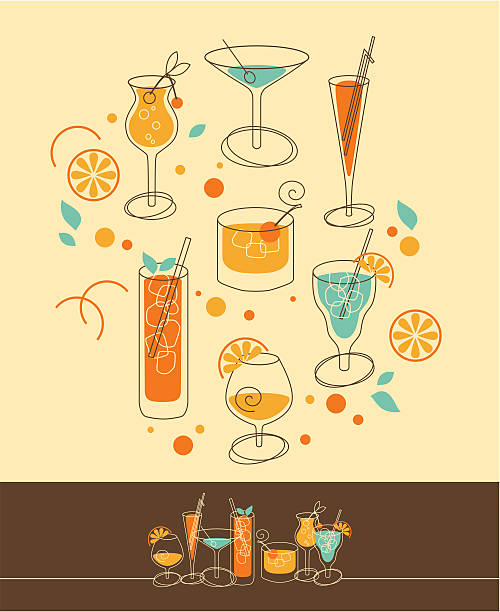 illustrazioni stock, clip art, cartoni animati e icone di tendenza di set di cocktail - aperitivo