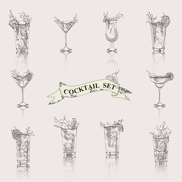 Conjunto blanco y negro de cóctel - ilustración de arte vectorial