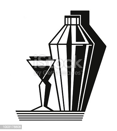 Cocktail Shaker and Martini Glass