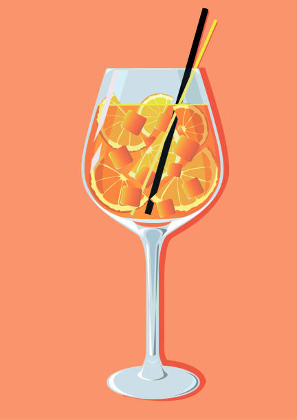illustrazioni stock, clip art, cartoni animati e icone di tendenza di cocktail spritz aperetif - aperitivo