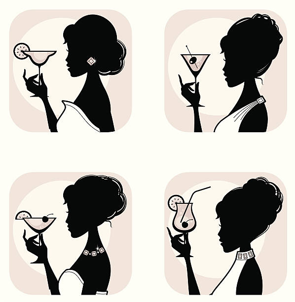 Best Drink Silhouette Women Martini Illustrations, Royalty