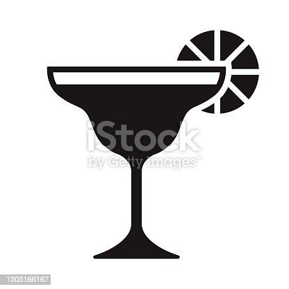 istock Cocktail Travel Glyph Icon 1305166167