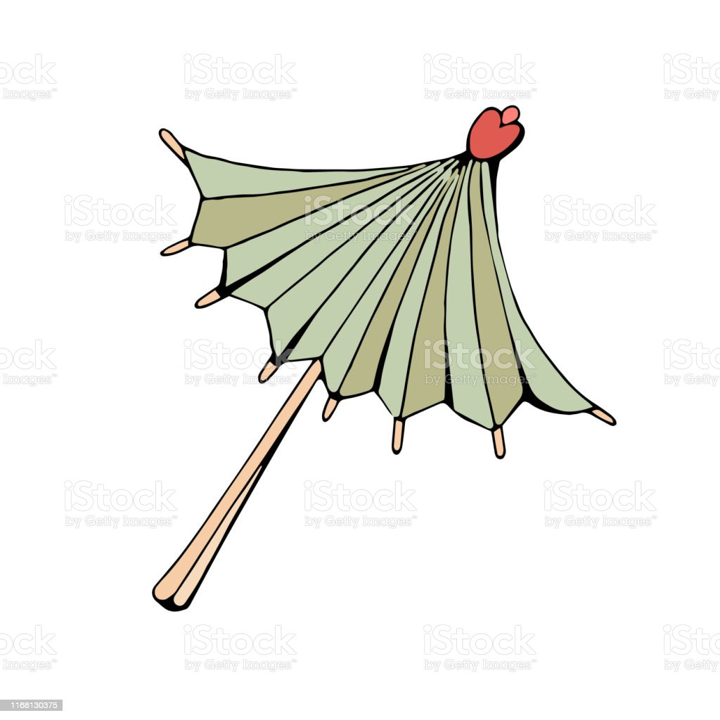 Cocktail Umbrella Decoration For Drinks Vector Object On White Background Retro Style Vintage In Isolation Hand Drawing Stock Illustration Download Image Now Istock