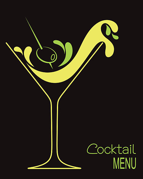 Cocktail Cocktail glass with abstract splashes and olive. Design for drinks bar menu or cocktail party invitation martini stock illustrations