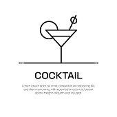 Cocktail Vector Line Icon - Simple Thin Line Icon, Premium Quality Design Element