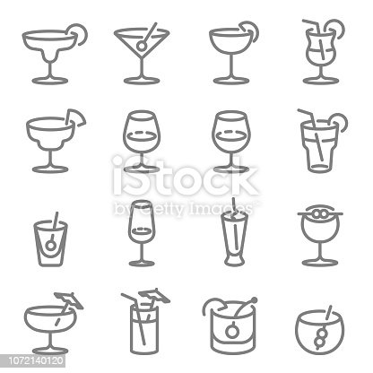 Cocktail Vector Line Icons. Contains such Icons as Wine, Mojito, Champagne and more. Expanded Stroke.
