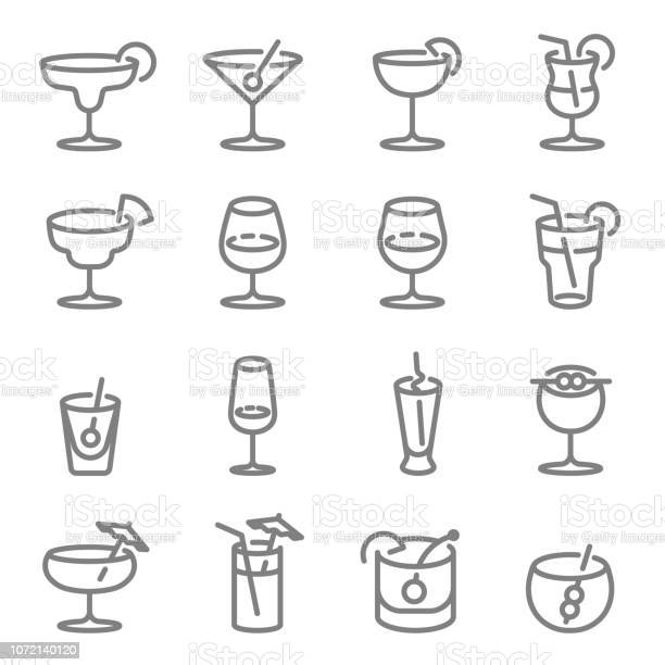 Cocktail vector line icons contains such icons as wine mojito and vector id1072140120?b=1&k=6&m=1072140120&s=612x612&h=de0kswqck9dhn2rt6n6i 162kokesoqtrpw i1le2c4=
