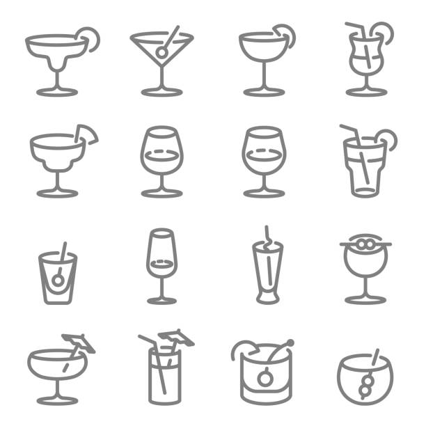cocktail vector line icons. contains such icons as wine, mojito, champagne and more. expanded stroke. - alcohol drink icons stock illustrations