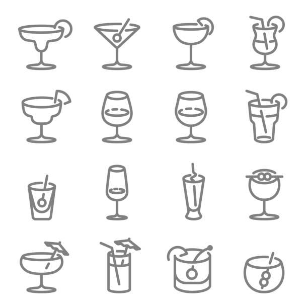 ilustrações de stock, clip art, desenhos animados e ícones de cocktail vector line icons. contains such icons as wine, mojito, champagne and more. expanded stroke. - refresco
