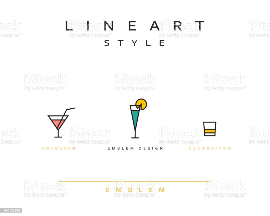 Cocktail wineglass vector icon style line art - Illustration vectorielle
