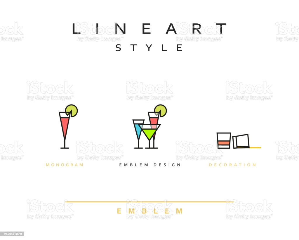 Cocktail wineglass vector icon style line art vector art illustration