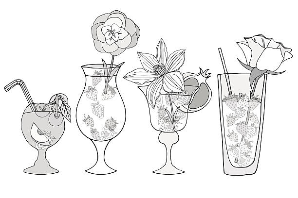 Cocktails and Alcohol Drinks vector art illustration
