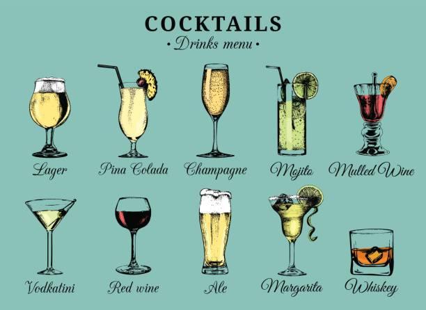 Cócteles y bebidas alcohólicas vasos ilustraciones dibujadas a mano. Vector de bebidas conjunto de bocetos, champagne, whisky etcetera. - ilustración de arte vectorial
