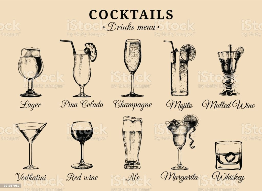 Cocktails and alcoholic beverages glasses hand drawn illustrations. Vector drinks sketches set, champagne, whiskey etc. vector art illustration