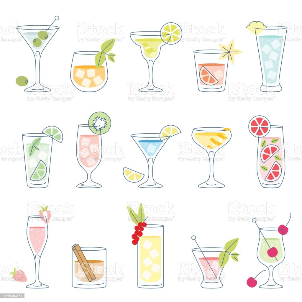 Cocktails and drinks with fruit vector art illustration