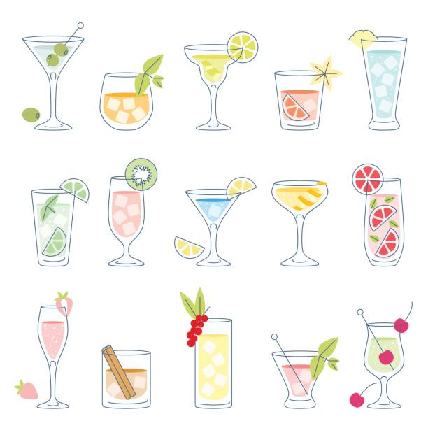 illustrations, cliparts, dessins animés et icônes de cocktails et boissons aux fruits - mojito champagne