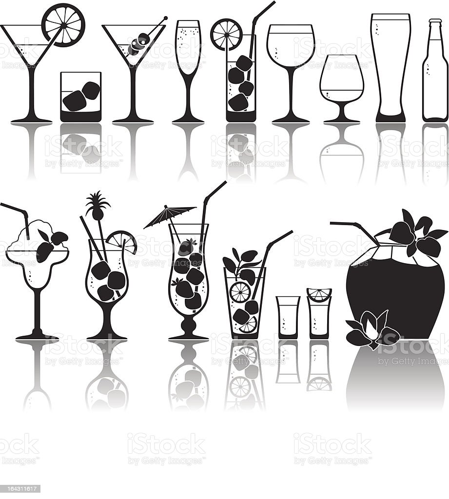 Cocktails and glasses with alcohol royalty-free stock vector art