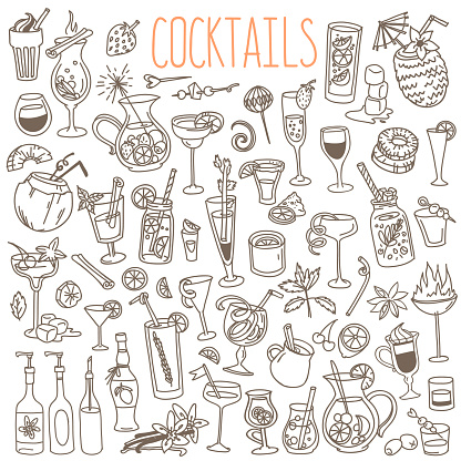 Cocktails and party drinks doodles set.