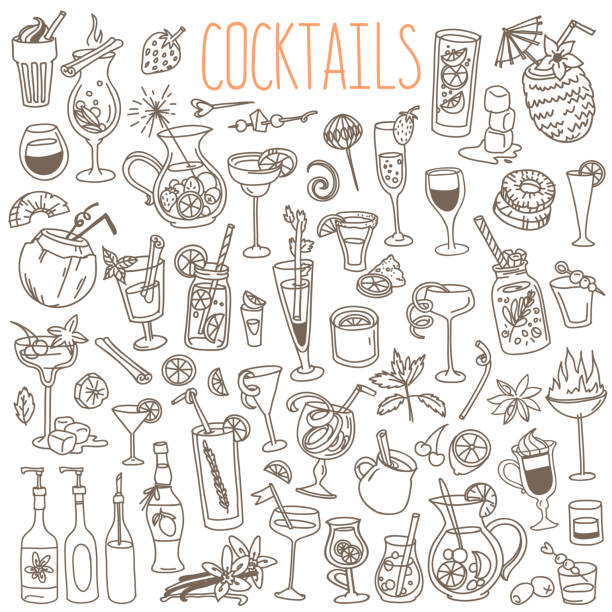 illustrations, cliparts, dessins animés et icônes de cocktails et doodles de boissons de fête ensemble. - mojito champagne