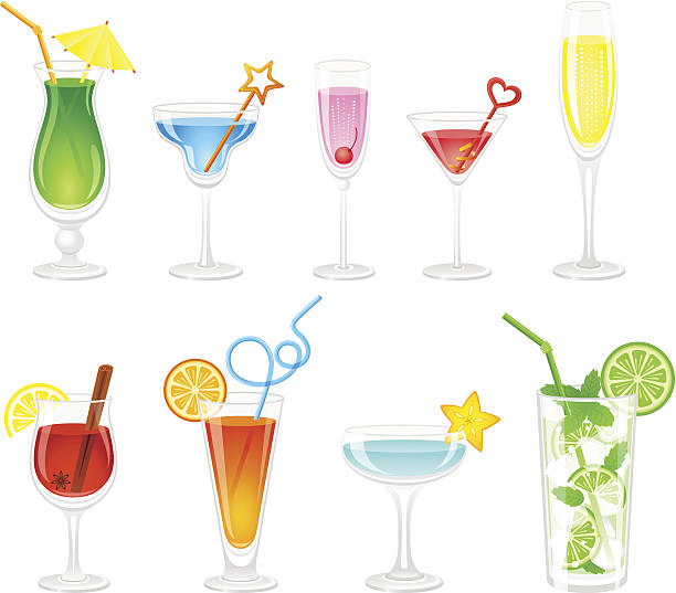 illustrations, cliparts, dessins animés et icônes de cocktails collection - mojito champagne