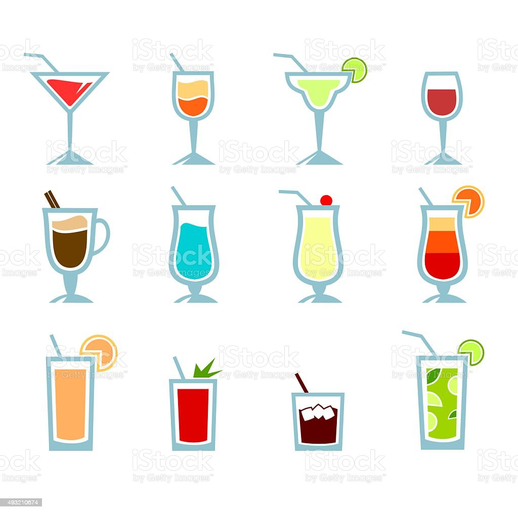 Cocktails collection vector art illustration
