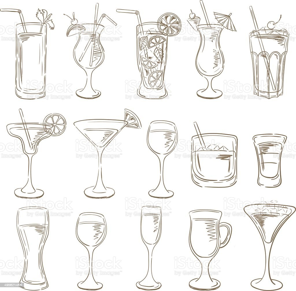 Cocktails collection. Vector Set of Sketch Cocktails and Alcohol vector art illustration