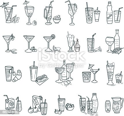 Vector illustration of cocktails doodles. Each object in a group.