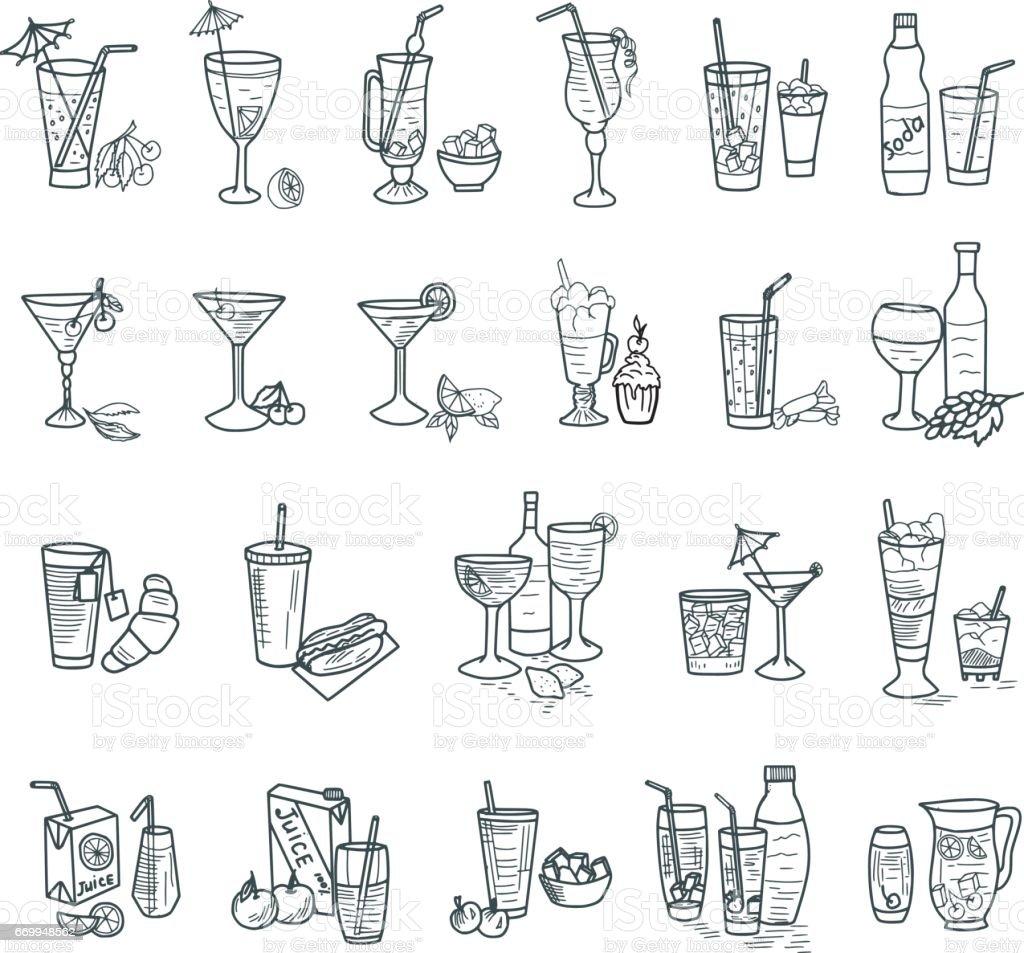 Des cocktails Doodles - Illustration vectorielle