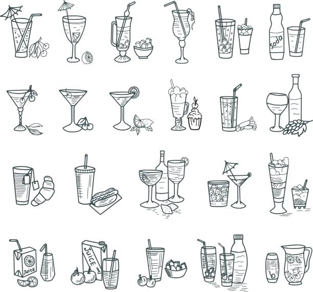 cocktails doodles - alcohol drink drawings stock illustrations