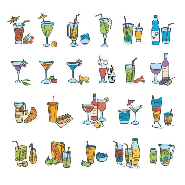 illustrations, cliparts, dessins animés et icônes de des cocktails doodles - infusion pamplemousse