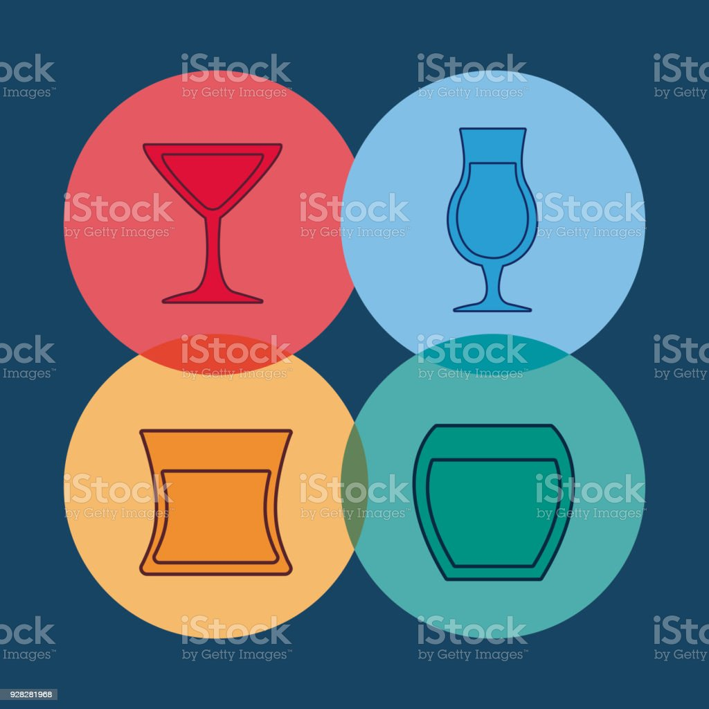 Cocktails Drinks Design Stock Illustration - Download Image