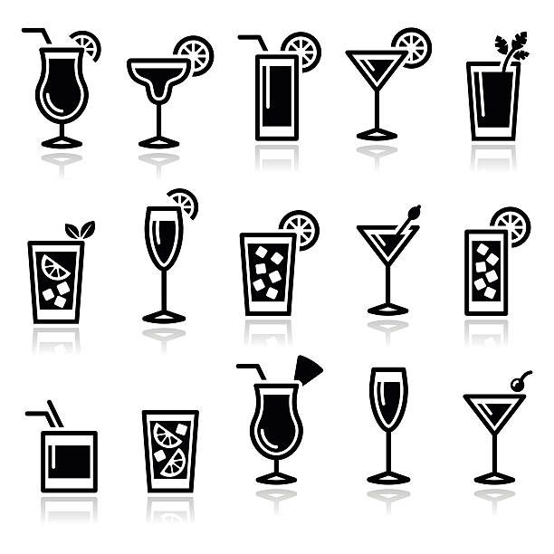 Cocktails, drinks glasses vector icons set Alcohol icons set - popular cocktails isolated on white  margarita stock illustrations