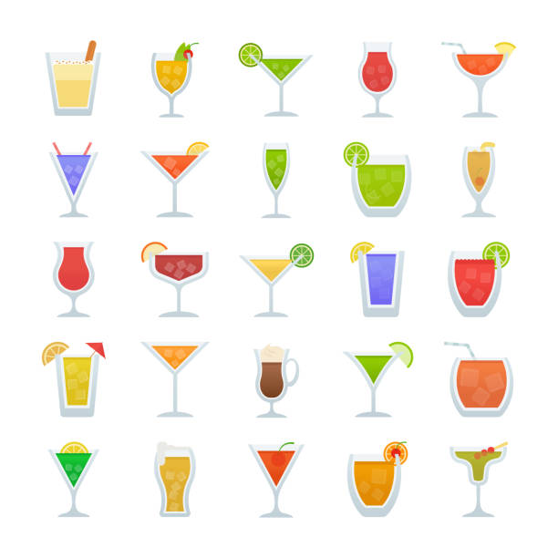 Cocktails Flat Vector Icons This pack has wide range of alcoholic drink and cocktail icons which are perfect to be used in food and drink related industry. So, if your projects have subjects like drinks blogging, beverages vlogging, bar, cafe and pub or any other related assignment you can definitely grab this pack and use these creative icons in your project. irish coffee stock illustrations