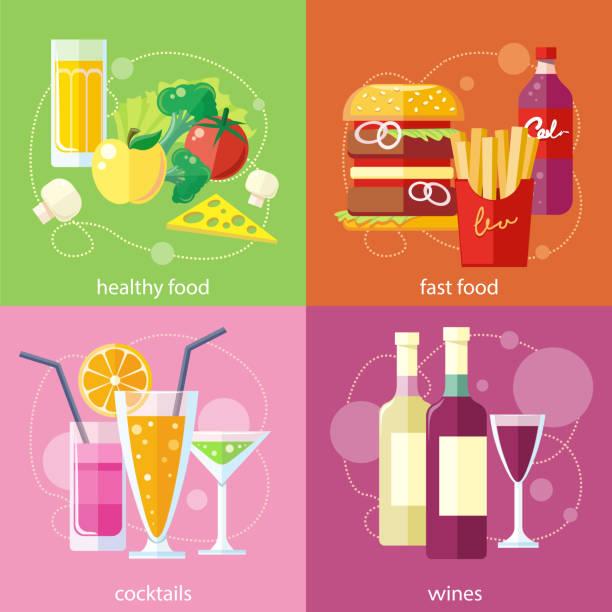 cocktails, gesunde kost, fast food and vines - salatbar stock-grafiken, -clipart, -cartoons und -symbole