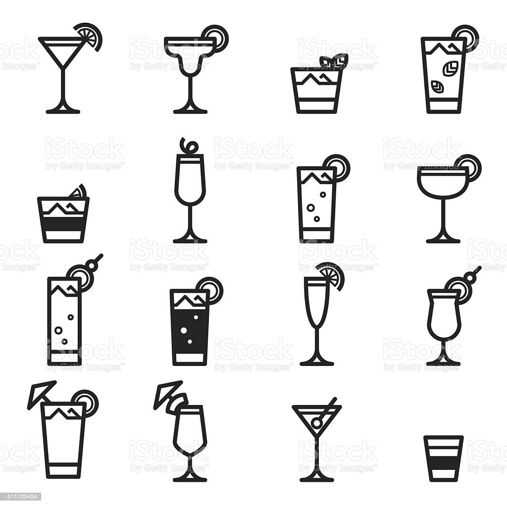 Cocktails Icons vector art illustration