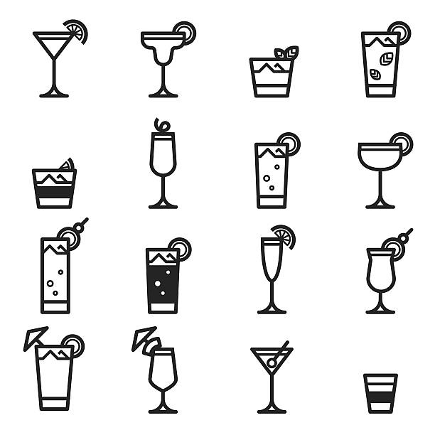 cocktails icons - cocktails stock illustrations, clip art, cartoons, & icons