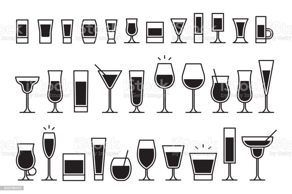 Iconos cócteles - ilustración de arte vectorial
