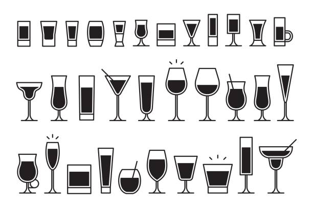 cocktails icons - refreshment stock illustrations, clip art, cartoons, & icons