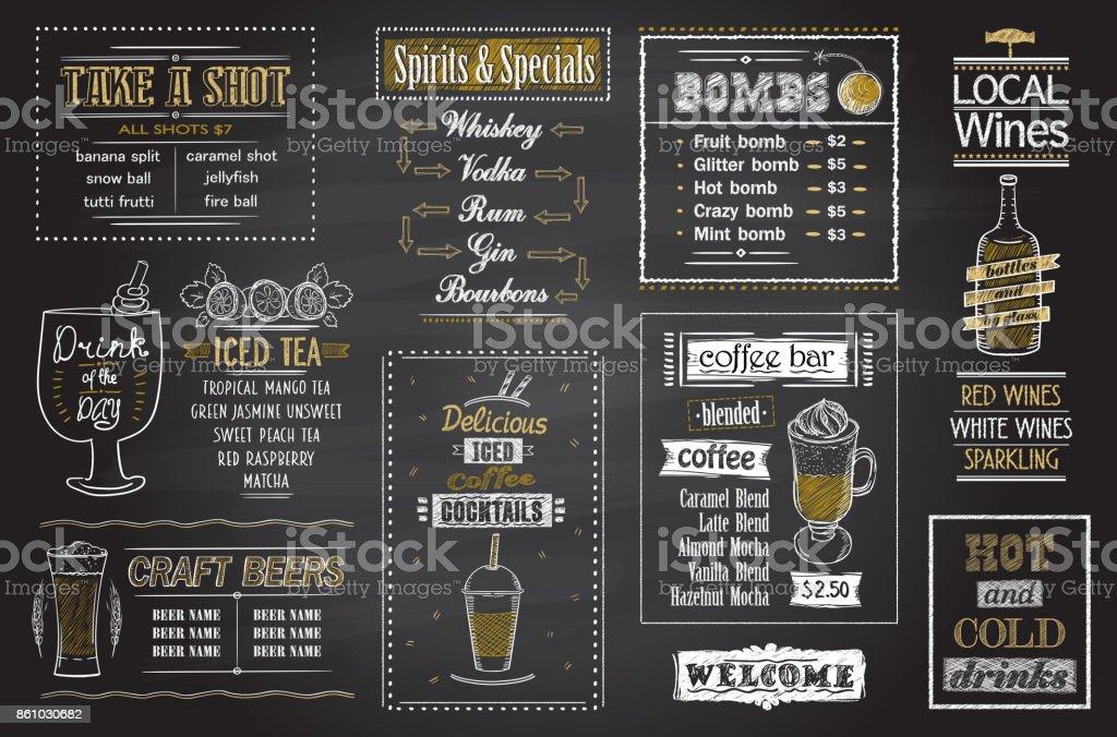 Cocktails menu chalkboard set