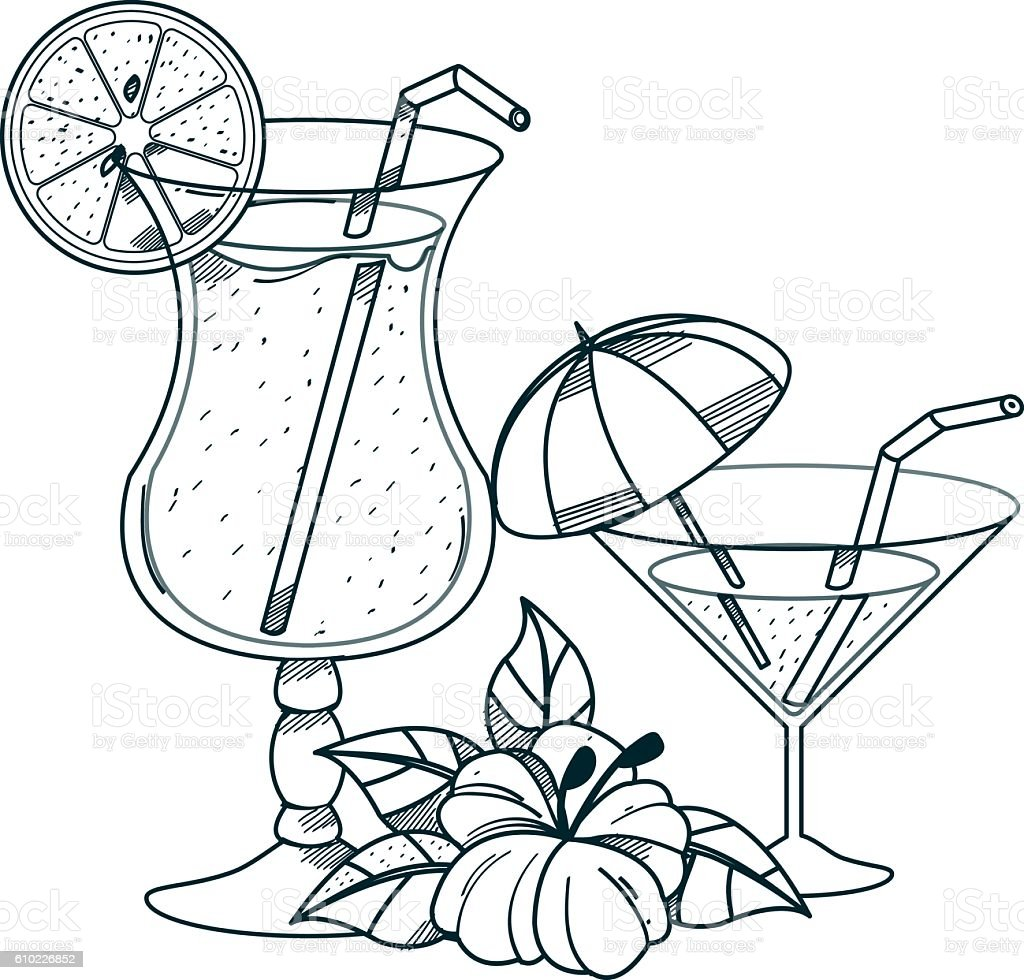 cocktails outline drawings for coloring のイラスト素材 610226852