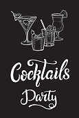 Cocktails party flyer with white lettering design. White vector lettering for banners posters or cards on a black background. Hand drawn calligraphic font and illustration. Font composition