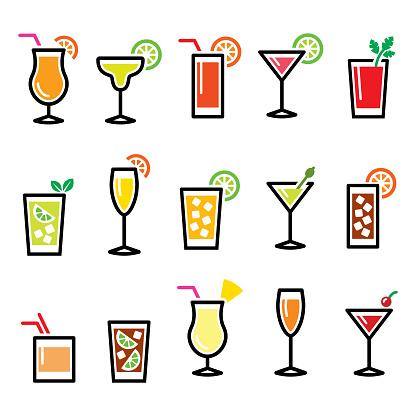 Cocktails, popular alcohot drinks glasses vector icons set - pub, bar concept