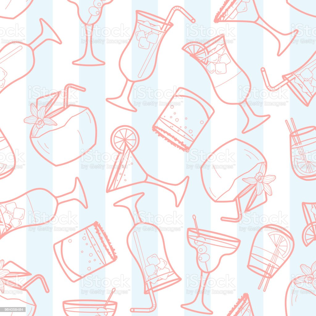 Cocktails random on stripe background. - Royalty-free Art stock vector