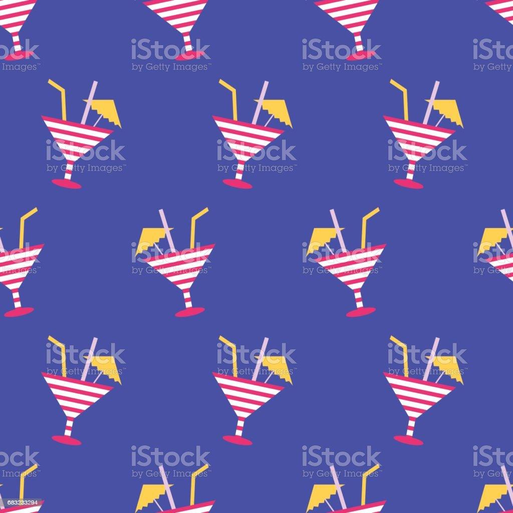 네온 블루 배경에 칵테일 여름 완벽 한 패턴 royalty-free 네온 블루 배경에 칵테일 여름 완벽 한 패턴 0명에 대한 스톡 벡터 아트 및 기타 이미지