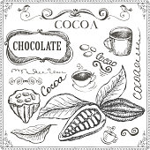 Hand drawn cocoa and chocolate doodles