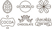Cocoa and chocolate line icons set, labels and badges vector Illustration isolated on a white background.