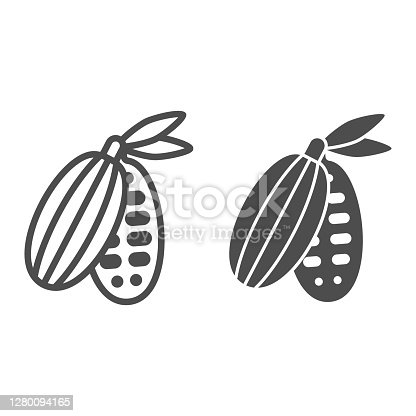 Cocoa beans line and solid icon, Chocolate festival concept, Cocoa pod sign on white background, cacao bean with leaves icon in outline style for mobile concept and web design. Vector graphics