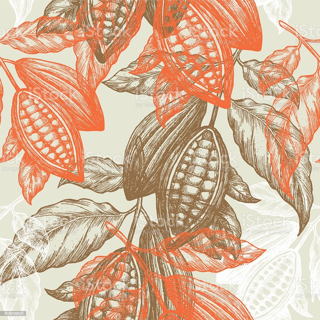 Cocoa beans seamless pattern. Cocoa tree illustration. Chocolate cocoa beans. vector art illustration