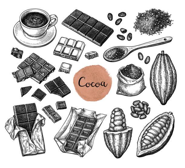 kakao groß gesetzt. - schokolade stock-grafiken, -clipart, -cartoons und -symbole