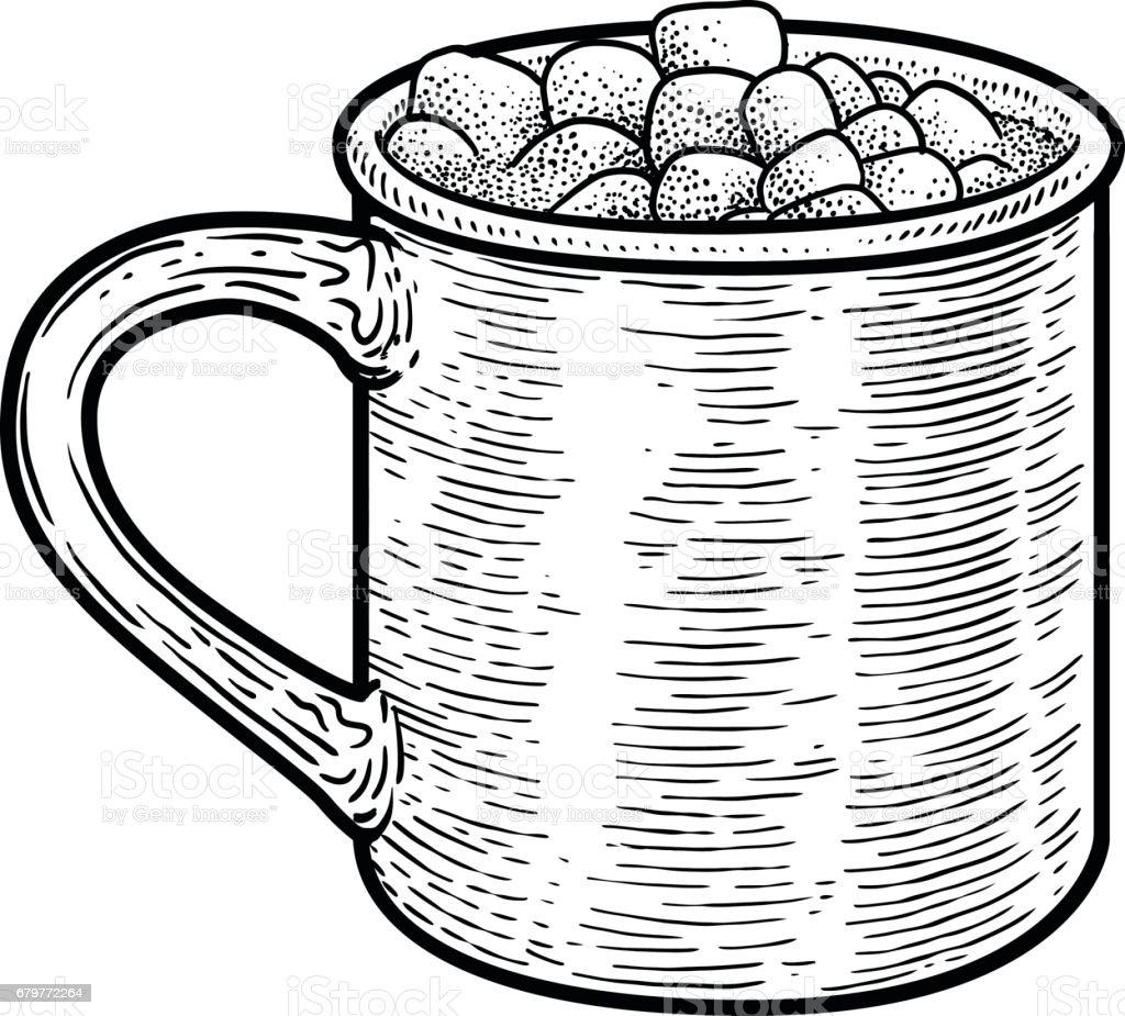 Cocoa drink illustration, drawing, engraving, ink, line art, vector vector art illustration